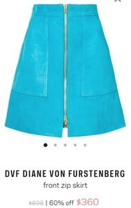 DVF turquoise suede skirt